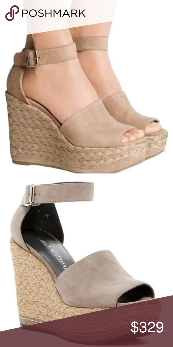 f5a634e529b NIB Stuart weitzman sohojute tan suede wedges Espadrille-inspired layers of  gorgeously braided jute lift
