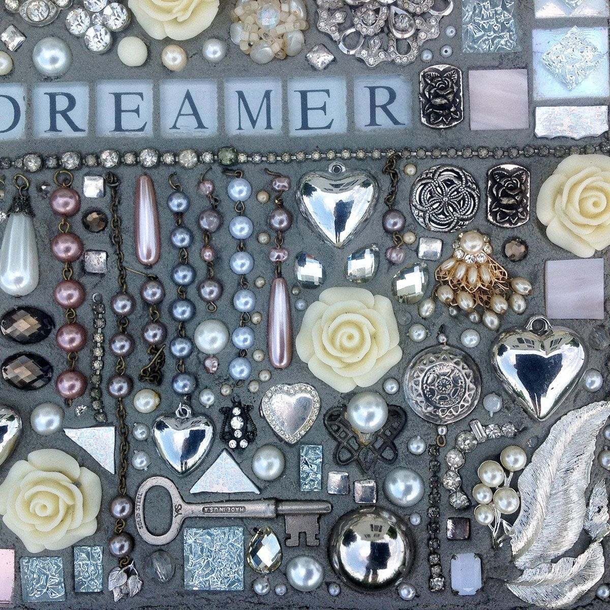 The word Daydreamer mosaic mixed media by StrappStudioMosaics