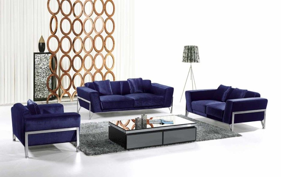 Living Room. Contemporary Dark Blue Velvet Couches for Low Profile Glass Coffee Table on Grey Living Room Rug. Stylish Contemporary Living Room Set Ideas