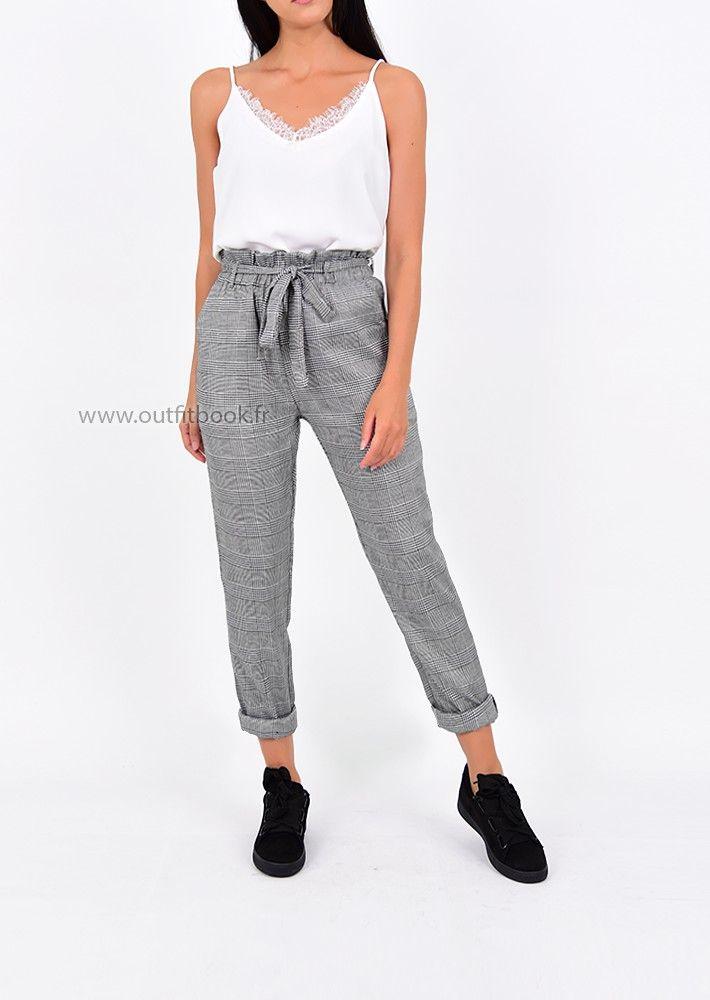 Pantalon taille haute gris à carreaux avec ceinture à nouer   mode ... 12f45b35802
