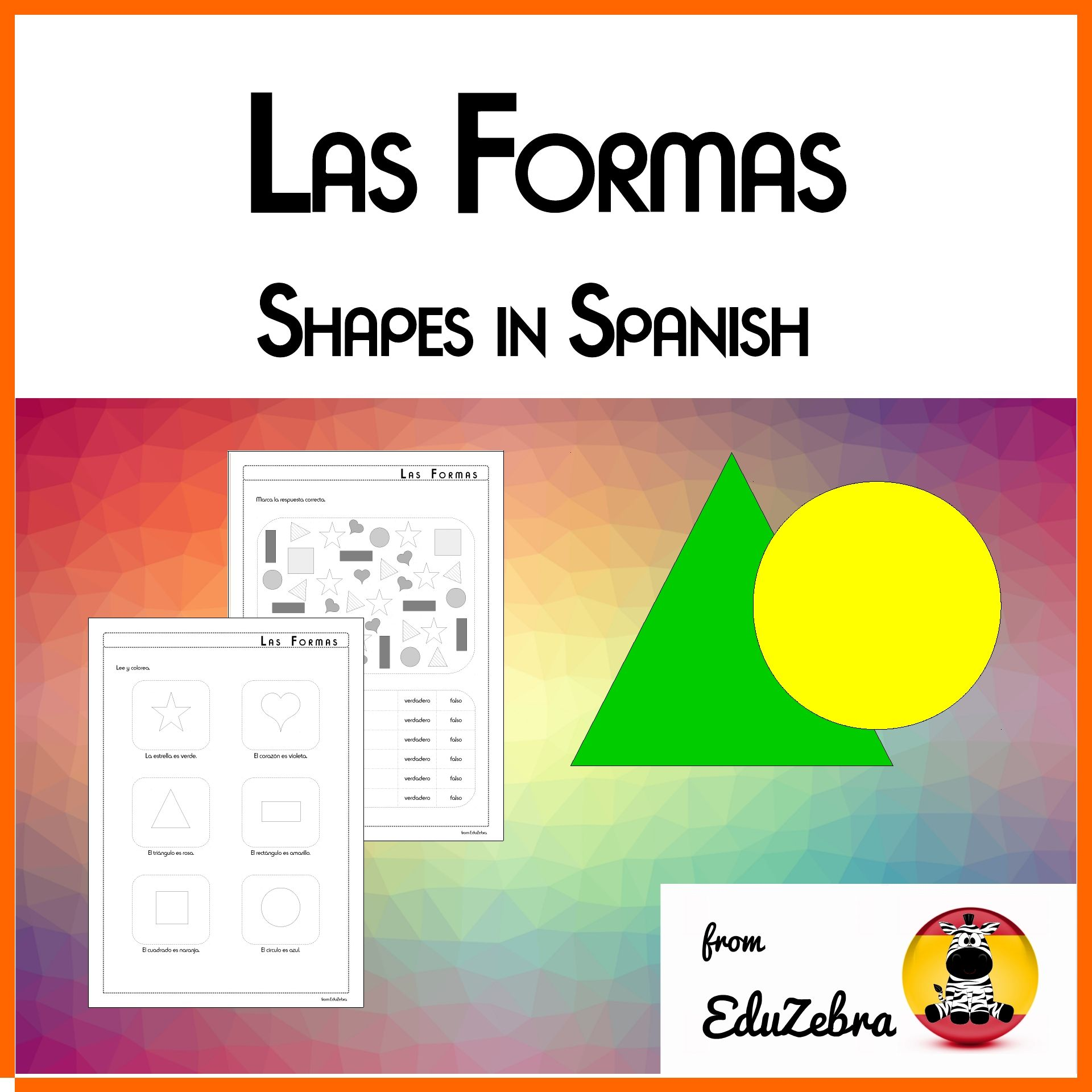 Shapes In Spanish Worksheet Kids Children Las Formas Espanol Actividades Shapes In Spanish Word Activities Activity Pack