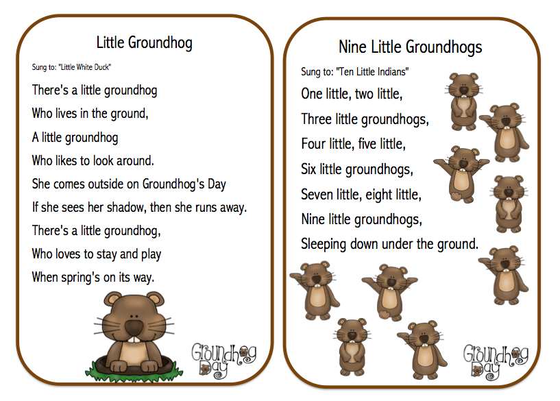 Preschool Printables: Groundhog Day Songs, Poems and Finger Play ...