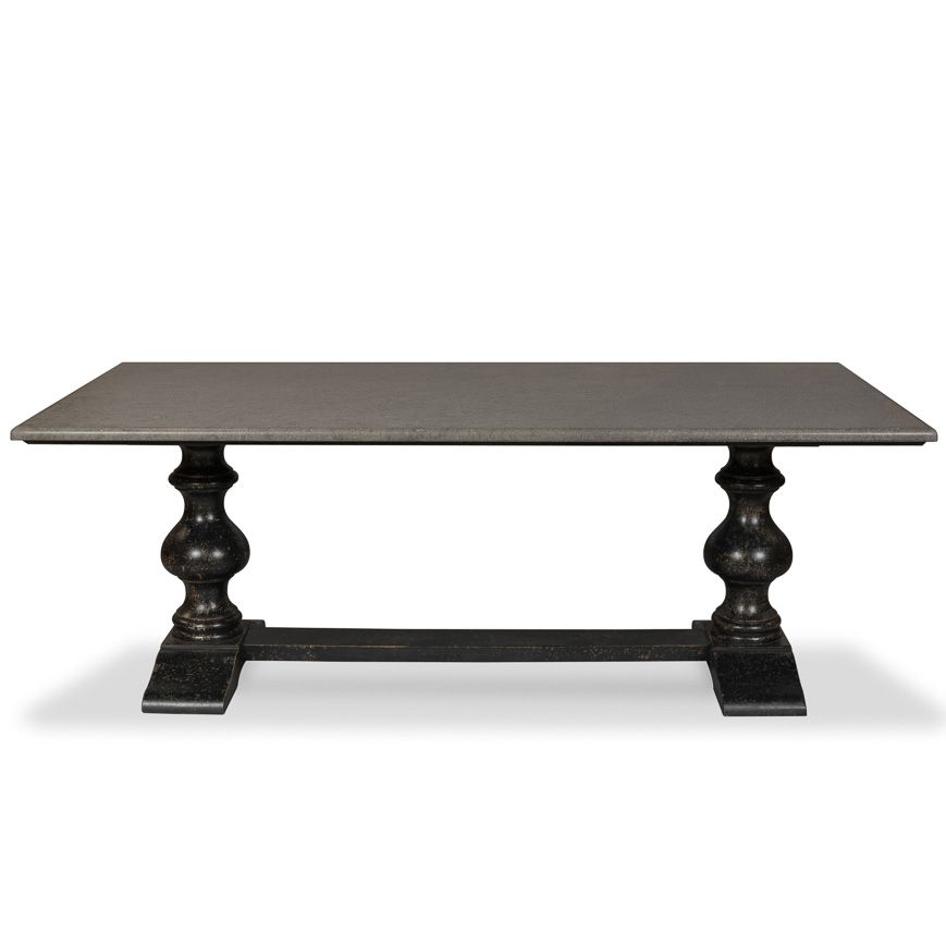 Stone Top Double Pedestal Black Dining Table Multiple Finishes Colors Available Belleescape