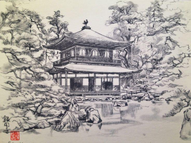 Япония картинки рисунки карандашом