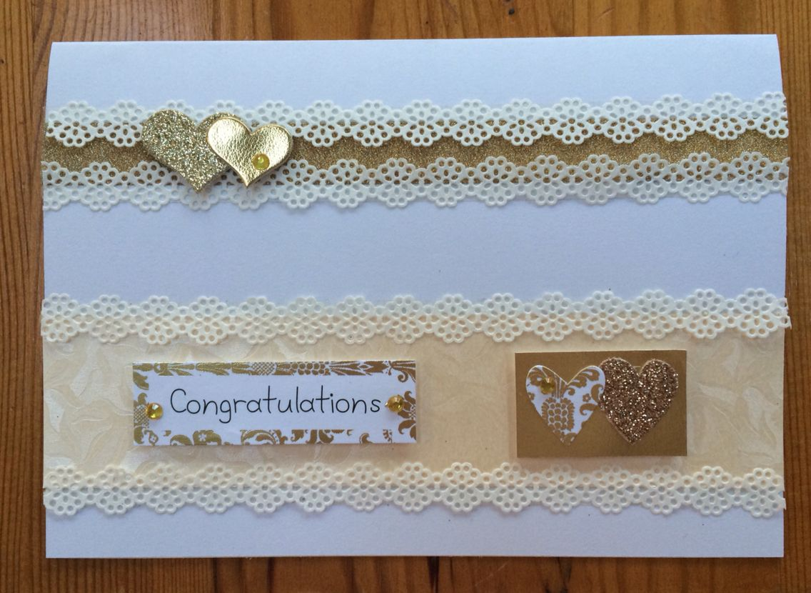 Landscape sparkle and lace gold and cream wedding card.