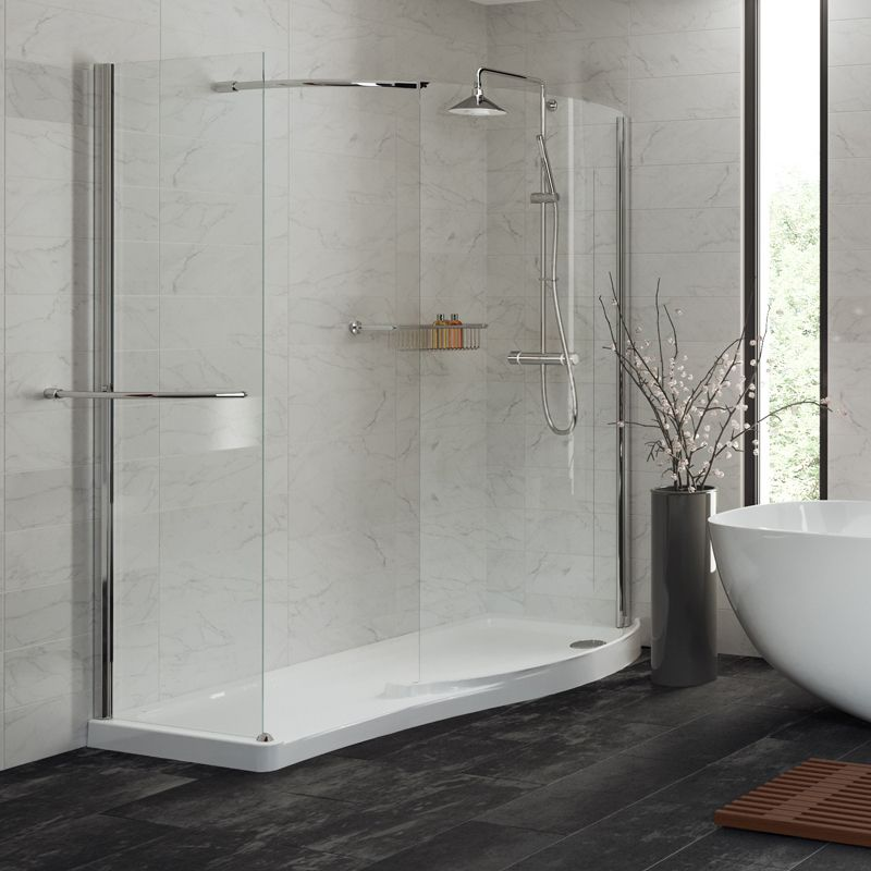 Mira Leap 1400 X 800mm Curved Walk In Shower Enclosure 5mm Glass