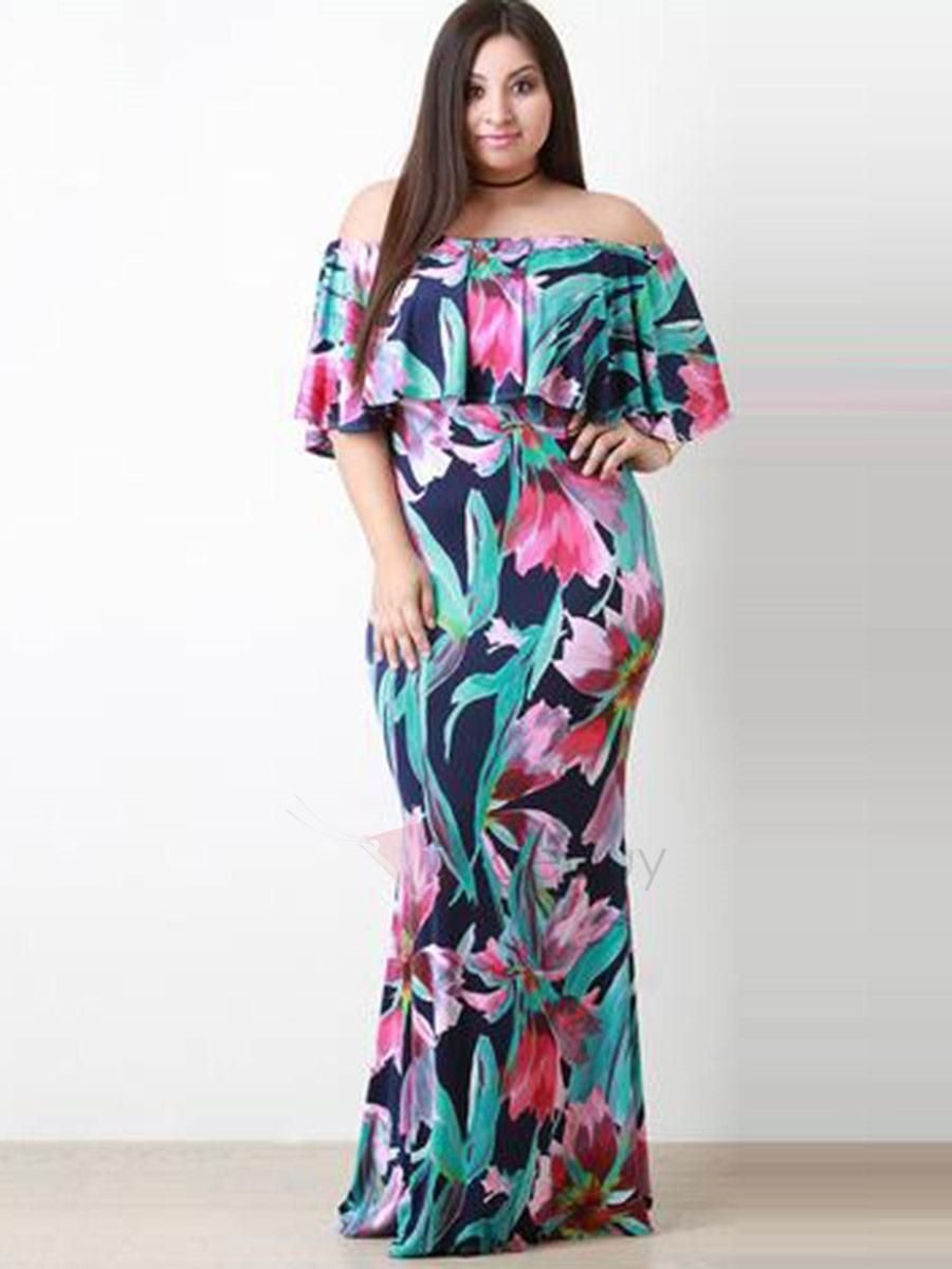 Tidebuy Tidebuy Boat Neck Floral Imprint Plus Size Maxi Dress Adorewe Com Plus Size Maxi Dresses Maxi Dress Plus Size Outfits