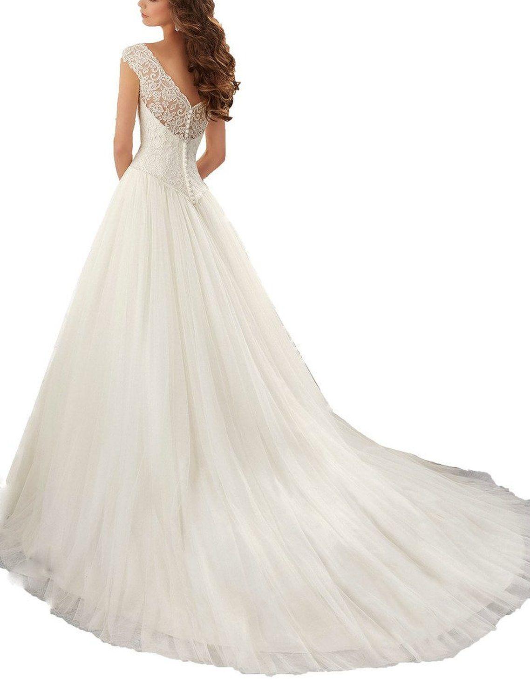 Simple Long ALine Cap Sleeve Train Lace Wedding Dresses Elegant