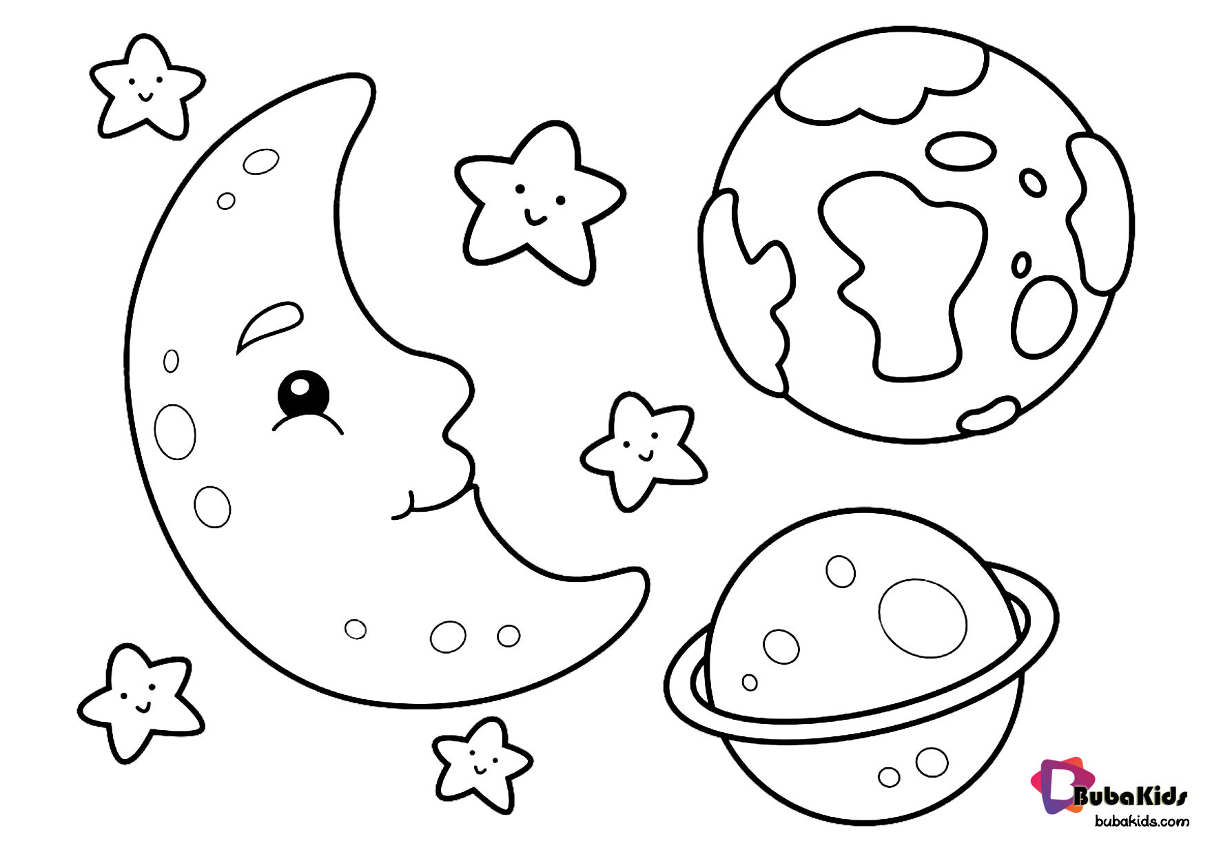 Moon Earth Stars And Saturn Outer Space Coloring Page For