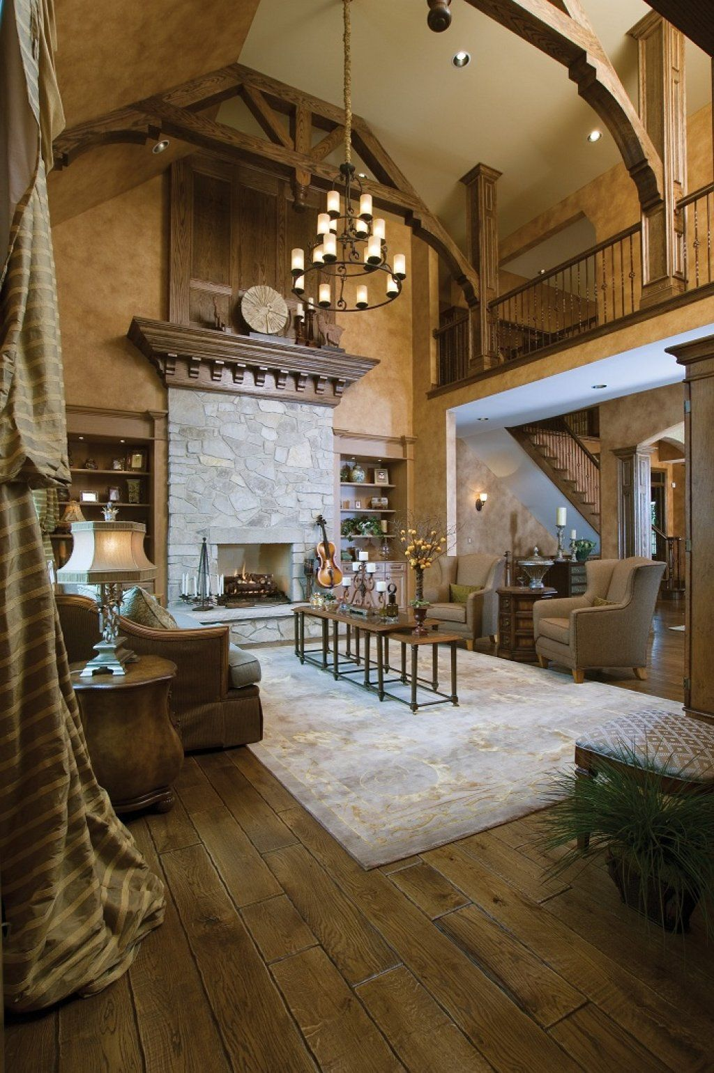 Rustic great room - liking the wide plank hickory floors, two ...