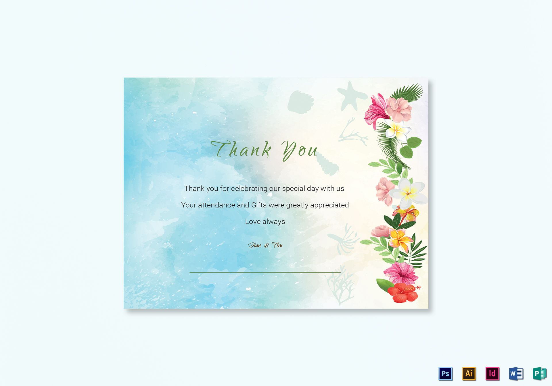beach thank you card template within thank you card