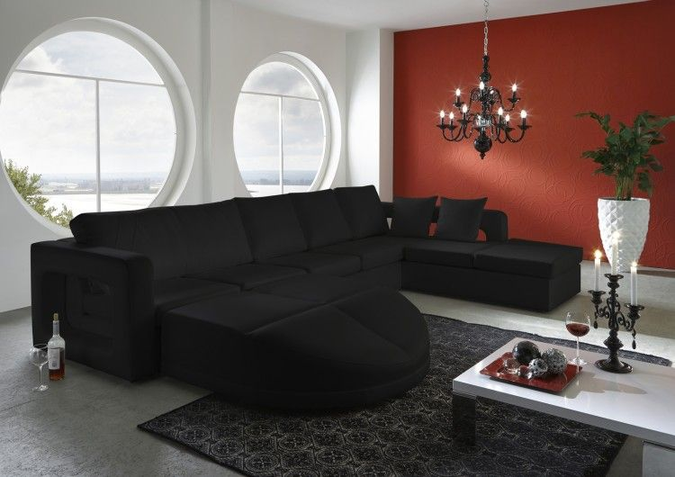 Wohnzimmer Ottomane Sofa Diamante schwarz - designed by Ricardo