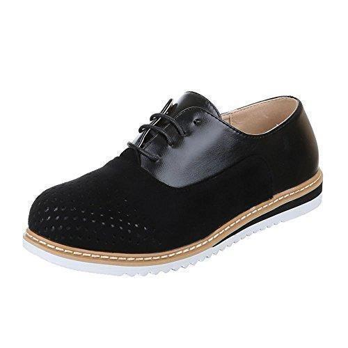 Ital-Design - Zapatos Planos con Cordones Mujer , color blanco, talla 39 EU