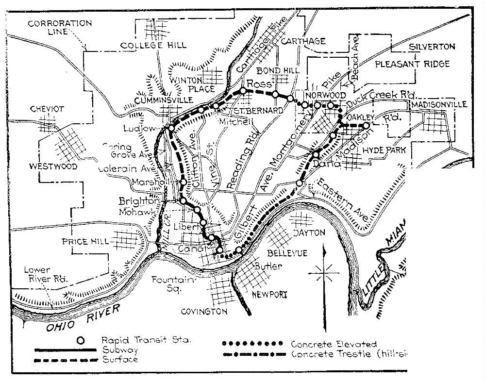 Cincinnati Subway Map.Cincinnati Subway Map Plan The Tunnel Was Partially Constructed And