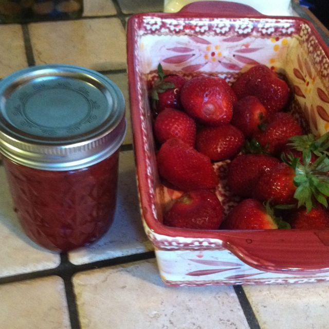 Fresh picked berries at 10 am, jam in the jars by 4:30 pm!!  Bread in the oven!