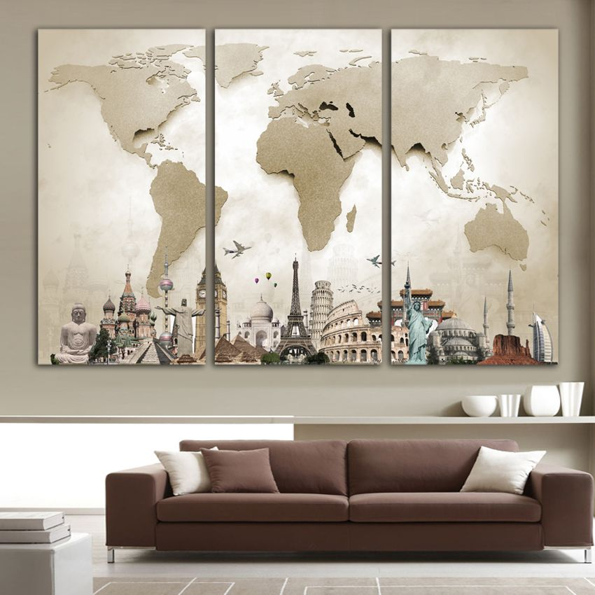 Discount 25 original price us 12 00 world map wall art canvas posters and prints modular