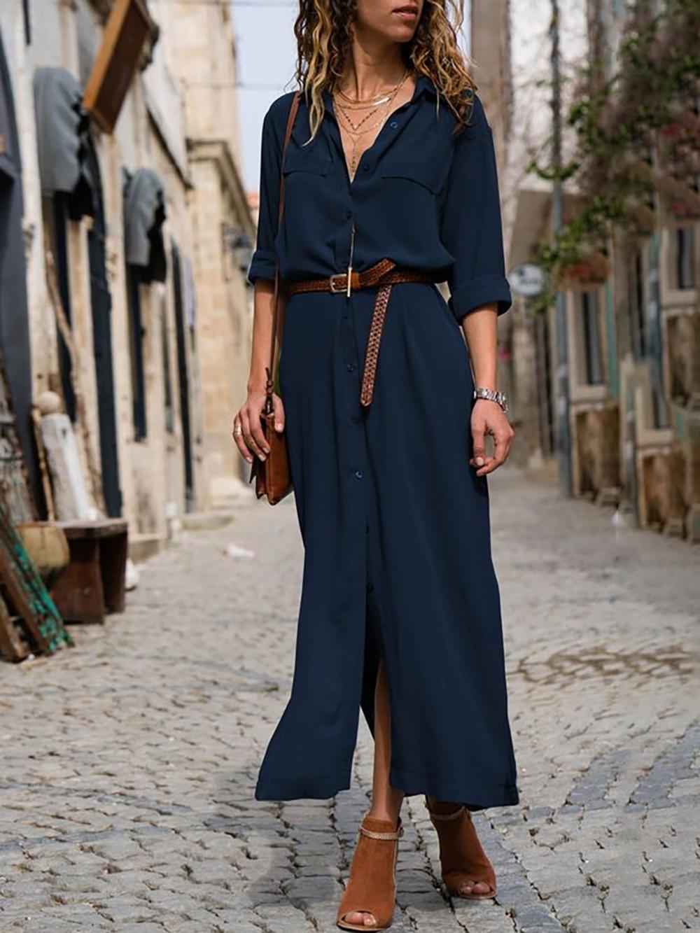 Droit Decontracte Unicolore Robes Mokolly Long Dress Casual Elegant Dresses Long Summer Dresses For Women [ 1333 x 1000 Pixel ]