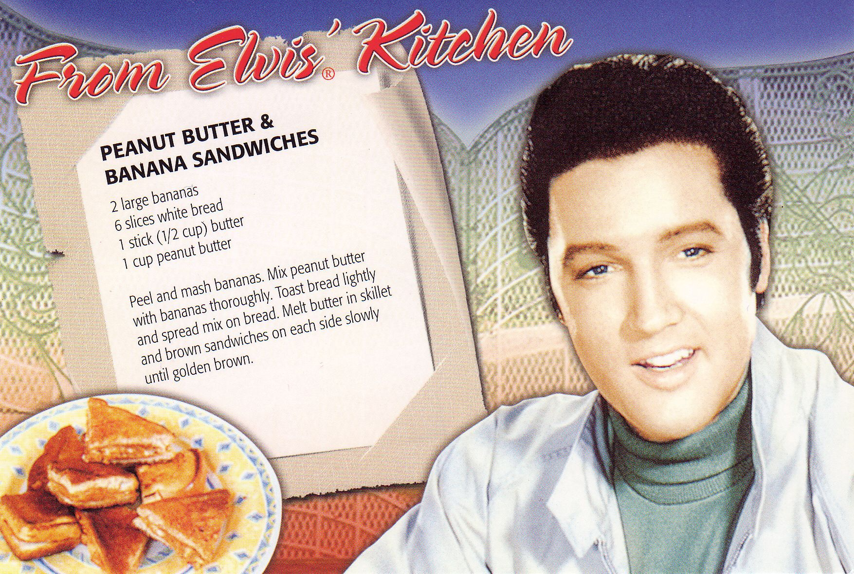 Elvis Recipe Card Banana Sandwich Peanut Butter Banana Sandwich Vintage Recipes