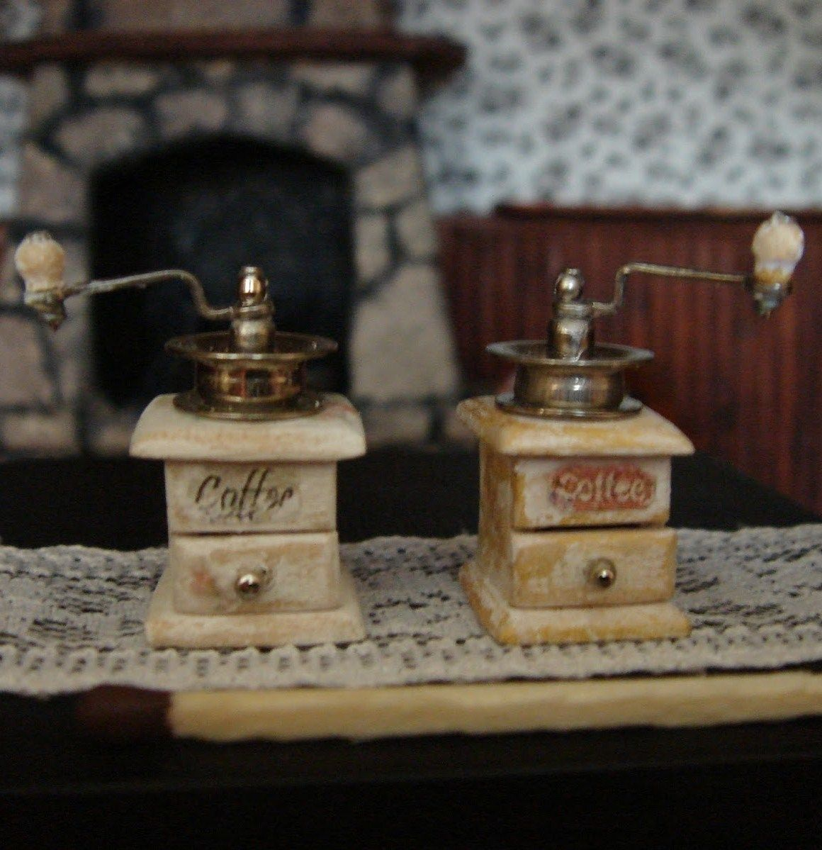 Miniature Antique Style Coffee Grinder For Dollhouse