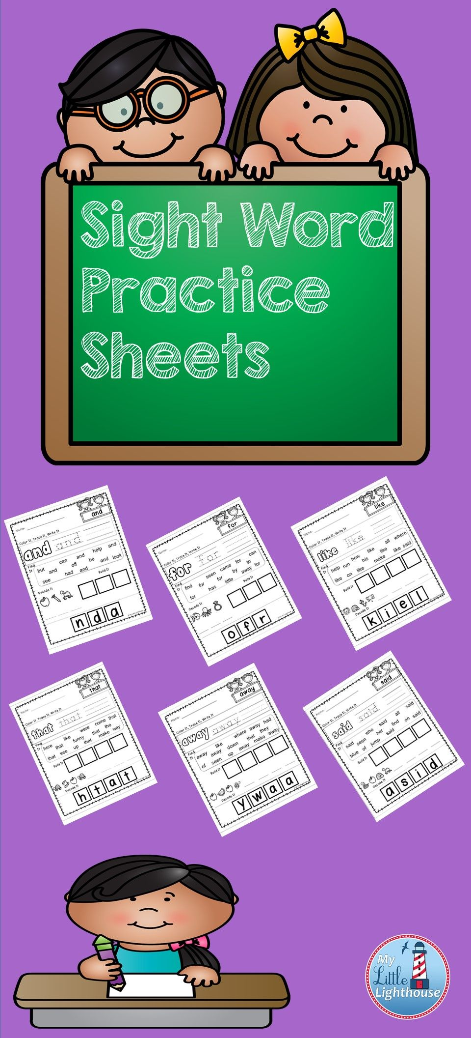 This packet includes 33 sight word practice pages. Each page ...