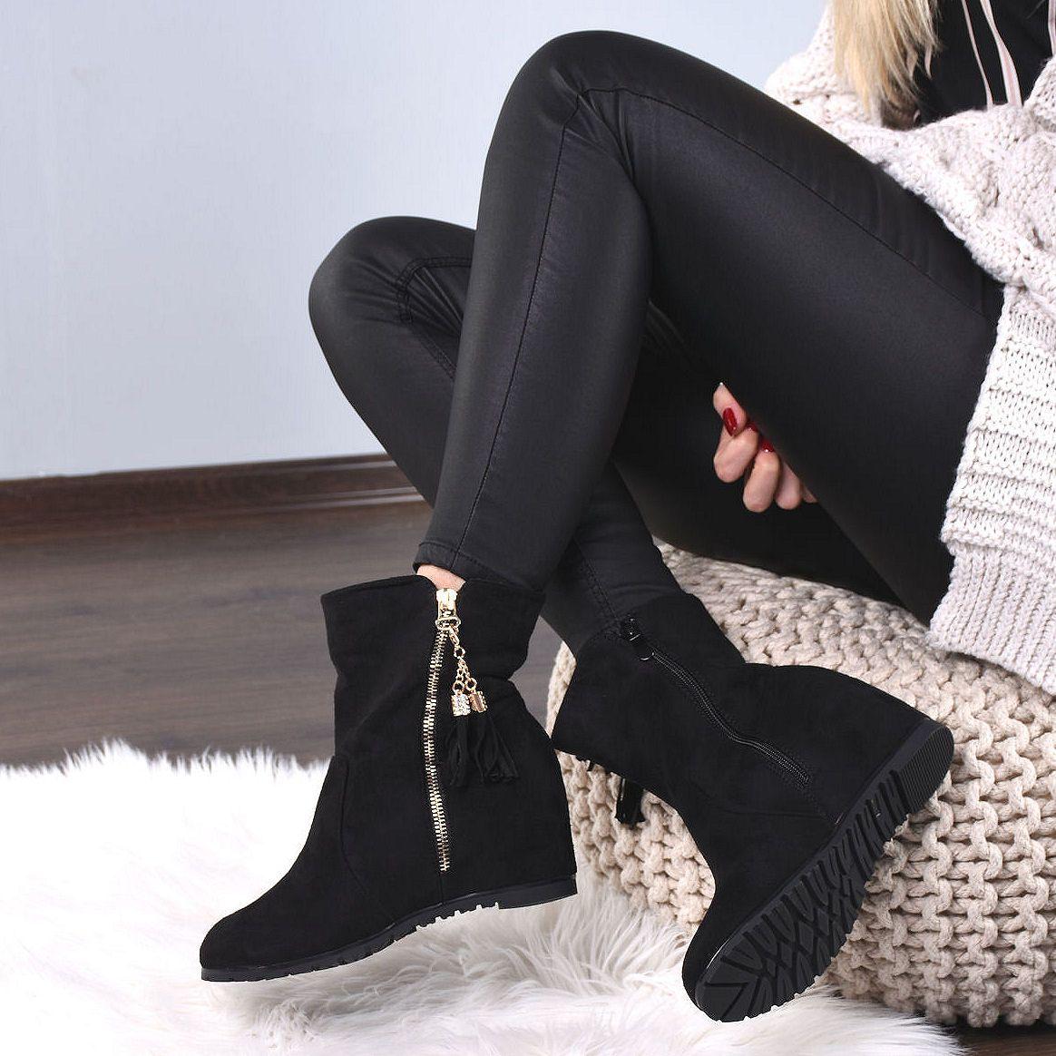 Czarne Zamszowe Botki Ukryty Koturn Fredzle 7973 Boots Fashion Winter Boot