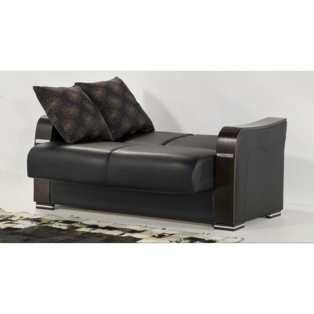 Awesome Modern Faux Black Leather Convertible Sofa Bed With Two Cushions As  Well As Sleeper Sectional