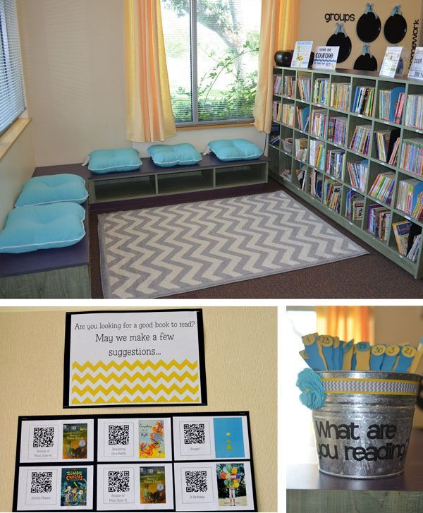 Literacy Classroom Decor ~ So many cute ideas for inviting reading spots in your