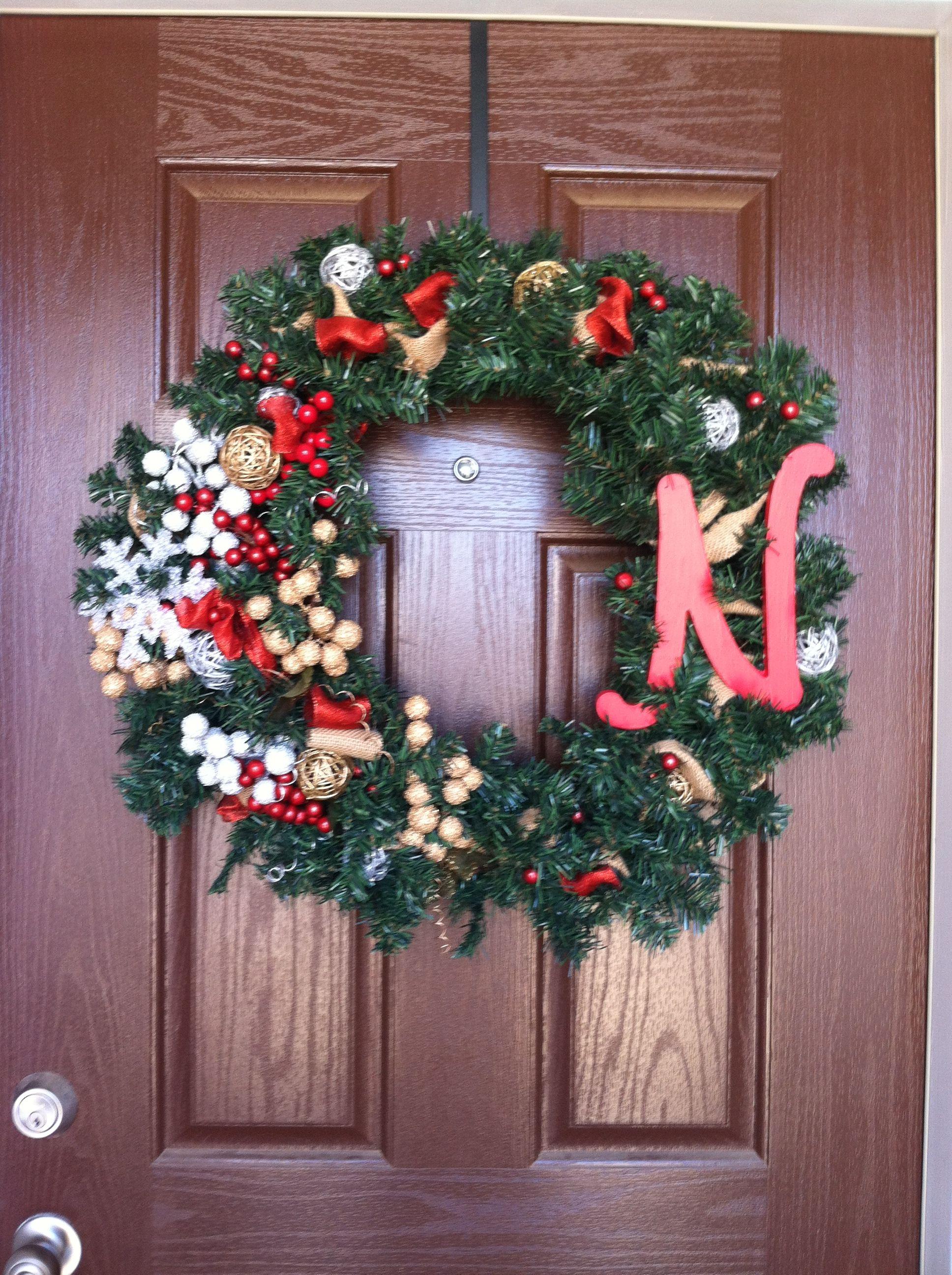 Front Door Christmas Wreath I Made