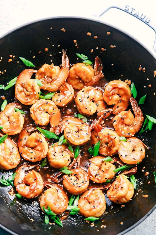 STICKY SESAME GARLIC SHRIMP - #food #garlic #sesame #shrimp