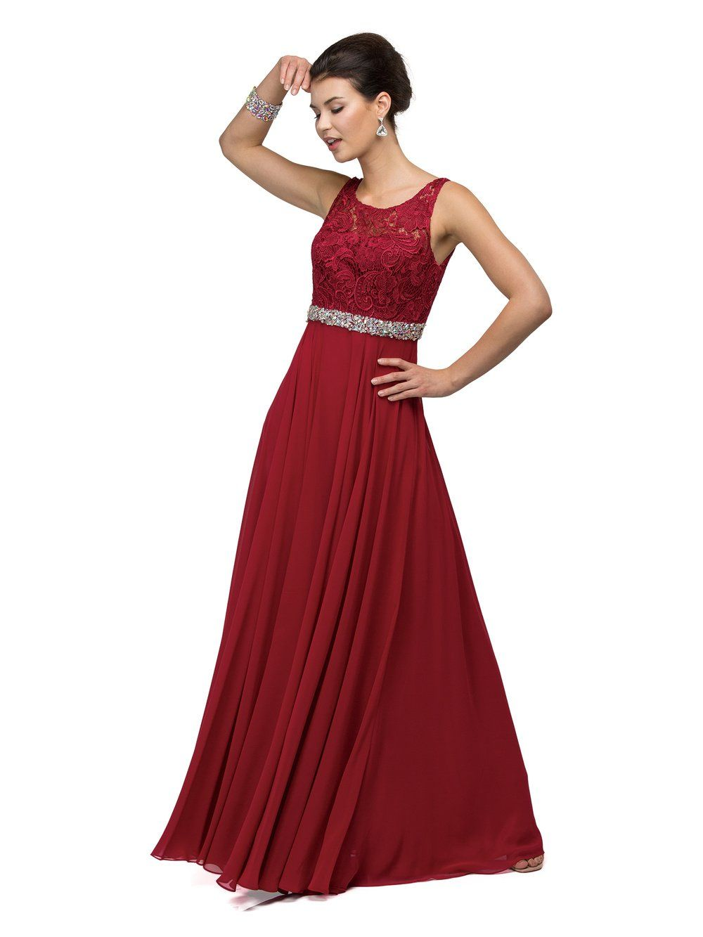 cb2aa4f277 DQ 9325 - Lace Applique A-Line with Attached Beaded Belt and Chiffon ...