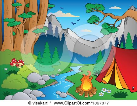 Clipart Waterfront Camp Site In The Woods Royalty Free Vector Illustration By Visekart Free Vector Illustration Forest Landscape Illustration
