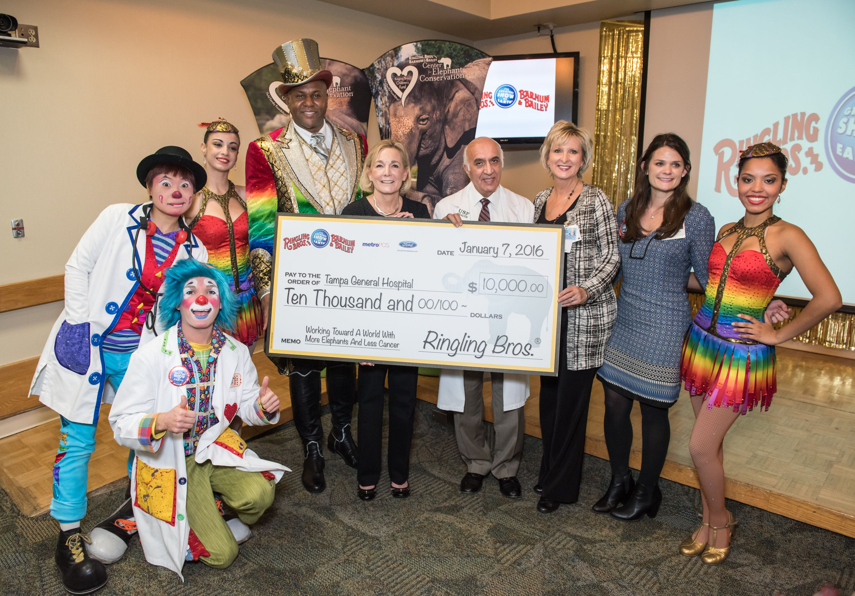 Ringling Brothers and Barnum and Bailey Circus visited children and patients at TGH, putting on a performance that featured clowns, dancers and acrobatics. They also donated $10,000 to the Tampa General Hospital Foundation!
