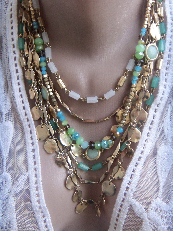 Unique handmade turquoise collar necklace with vintage floral details