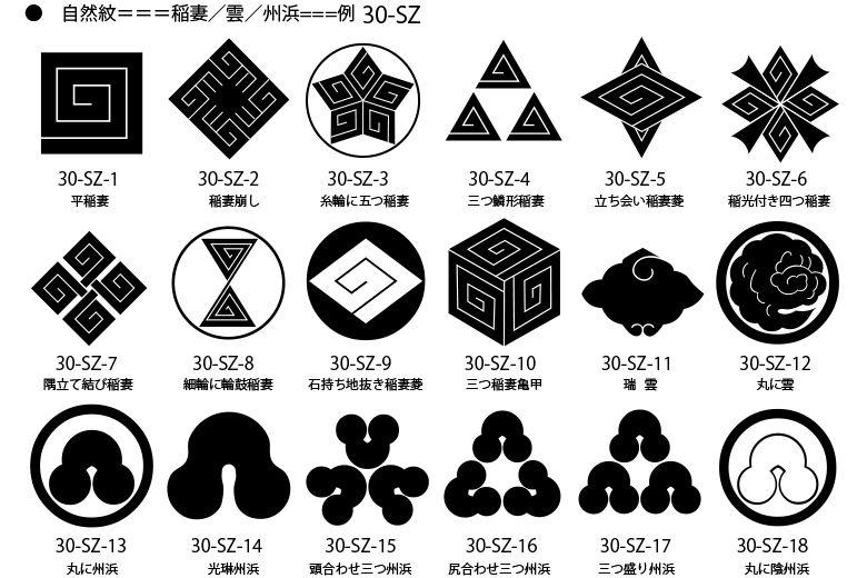 家紋 自然紋の一例 稲妻紋 州浜紋 Desenhos