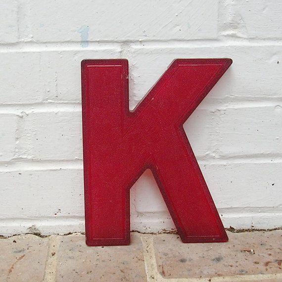 Vintage Letter K Heavy Red Plastic Vintage Marquee Letter K 6 Vintage Lettering Vintage Marquee Letters Vintage Marquee