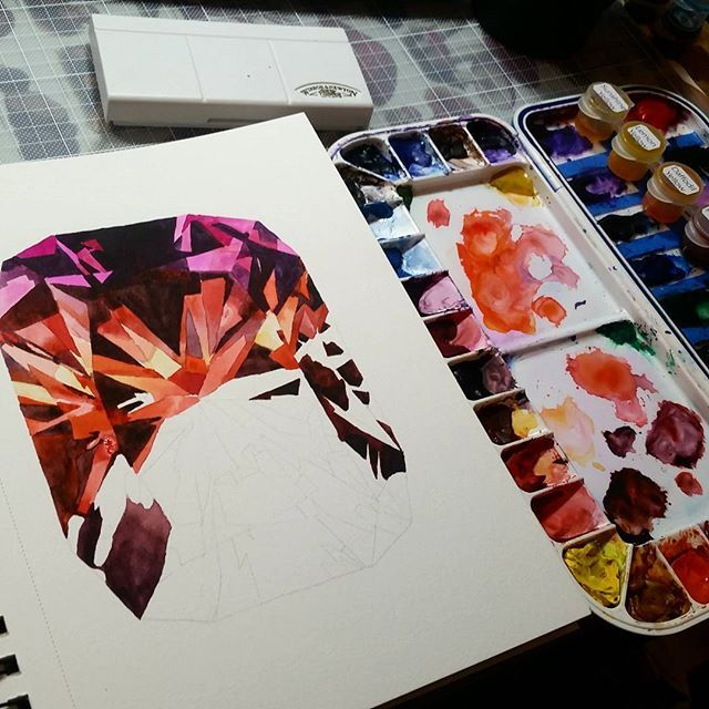 Trying to get more in progress shots, I am usually so focused I forget. .  .  .  .  . #satafying #art #artsupplies #realistic #realism #process #insta #gems #crystals #shiny #polished #water #watercolor #orange #canson #winsorandnewton #drawing #paint #drphmartins #gembook