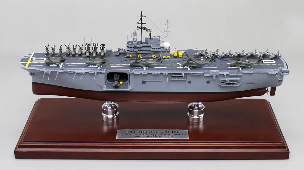 A recently completed museum quality model of the USS Tripoli (LPH-10) an Iwo Jima-class amphibious assault ship of the United States Navy.