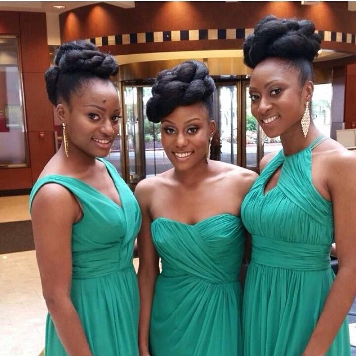 Nigerian Wedding Natural Hair Bridesmaids Hair By Transsform Beautiful Bridal Hair Nigerian Bridesmaid Nigerian Bridesmaid Dresses