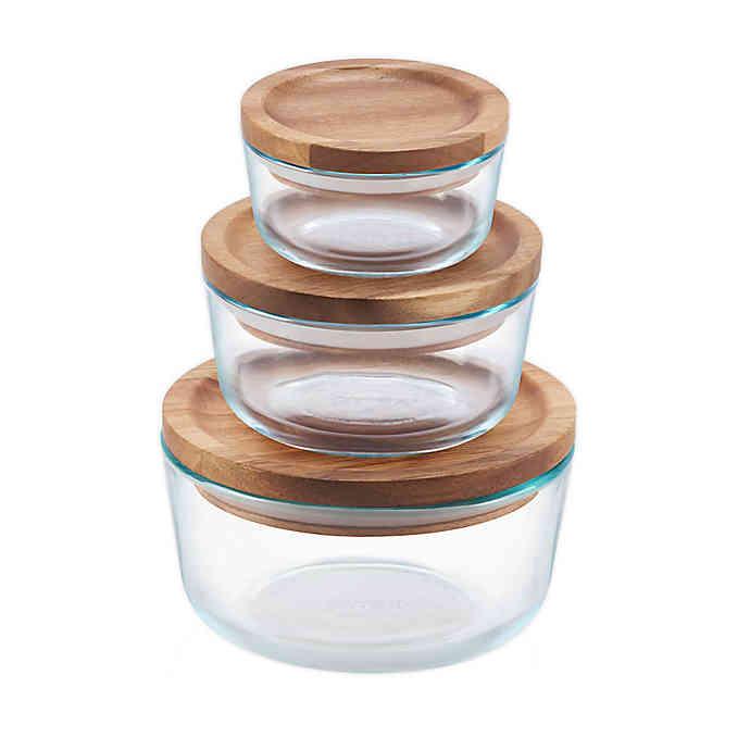 Pyrex 6 Piece Glass Food Storage Container Set With Wood Lids In 2020 Glass Food Storage Containers Glass Storage Containers Glass Food Storage