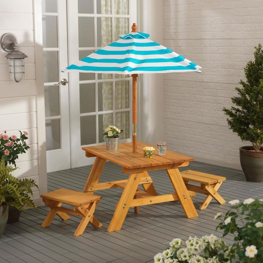 Kidkraft Outdoor Table And Bench Set With Umbrella Turquoise And
