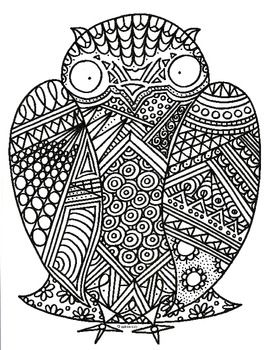 Black Amp White Detailed Owl Coloring Sheet