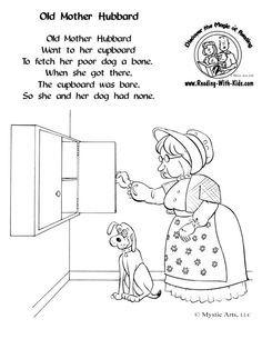 Old Mother Hubbard Coloring Sheet NurseryRhymes