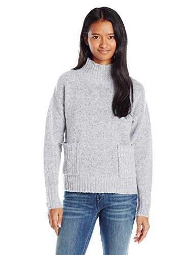 cool Love By Design Juniors Oversize Pocket Mock Neck Pullover Sweater