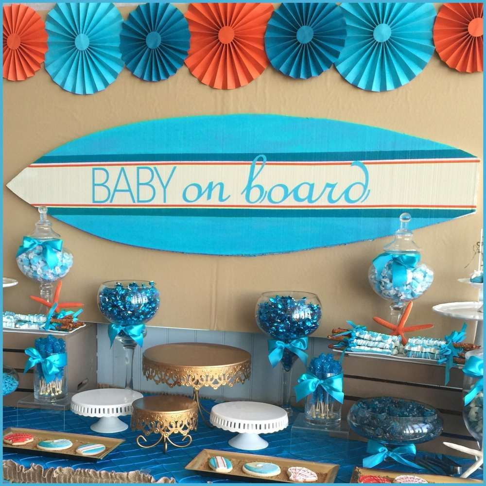 surfer boy baby on board baby shower party ideas in 2019. Black Bedroom Furniture Sets. Home Design Ideas