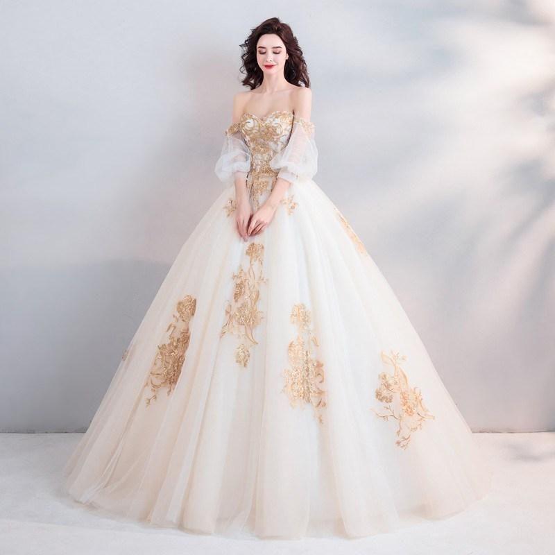 White And Gold Wedding Dress Ball Gown Ball Gown Wedding Dress Wedding Dresses Lace Gold Wedding Dress