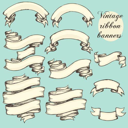 Vector vintage ribbon banners design 02 | Ink | Pinterest