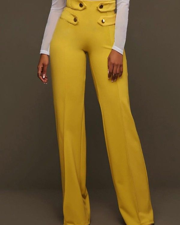 Photo of Wide buttoned trousers with wide leg