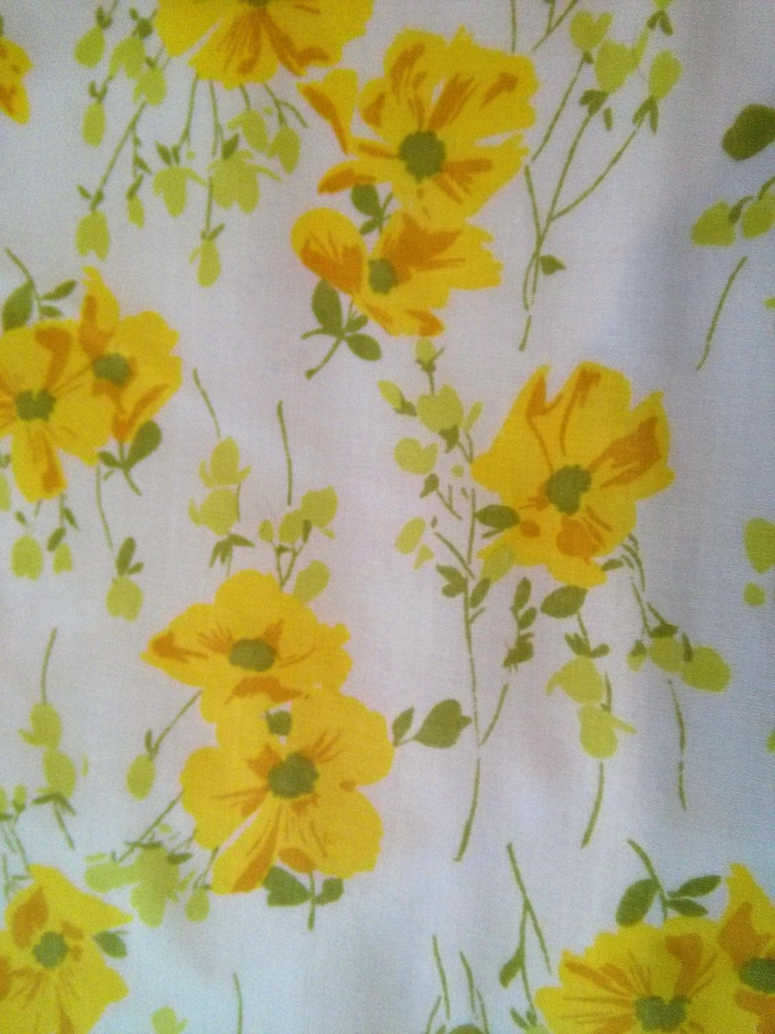 Vintage Yellow Floral Double Flat Sheet Yellow Roses Yellow