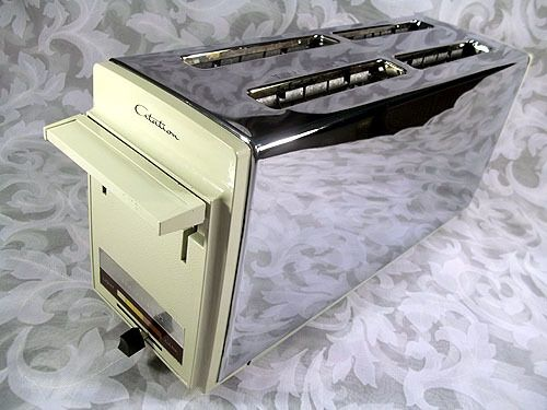 Sold Vintage Proctor Silex Citation 4 Slice Toaster Automatic Pop Up Off White Chrome Household Items Household Chrome