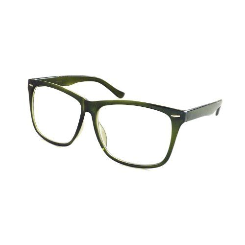 8b3157265a1 nice NERD Geek 50s Style Oversize Fashion Frame Unisex Clear Lens Eye Glasses  GREEN  Clear